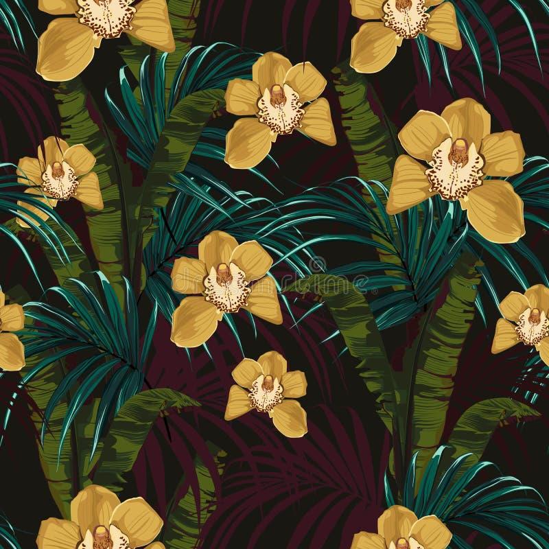 Fondo tropicale con le piante della giungla Modello tropicale di vettore senza cuciture royalty illustrazione gratis