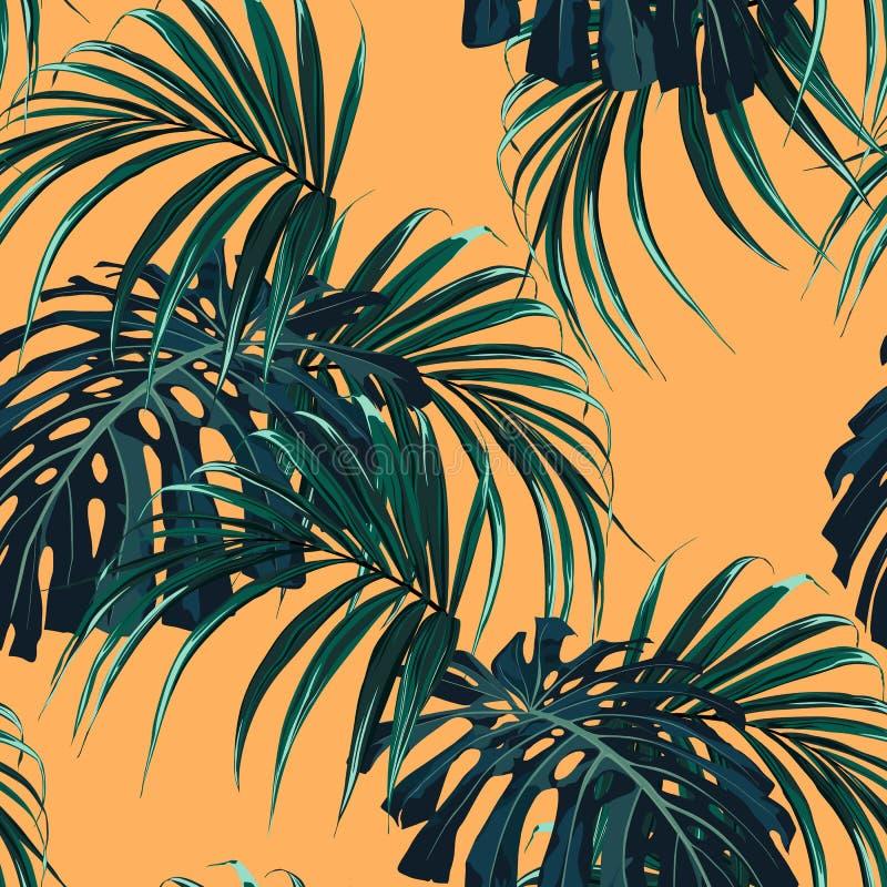 Fondo tropicale con le piante della giungla Modello tropicale di vettore senza cuciture con le foglie di palma verde scuro illustrazione vettoriale