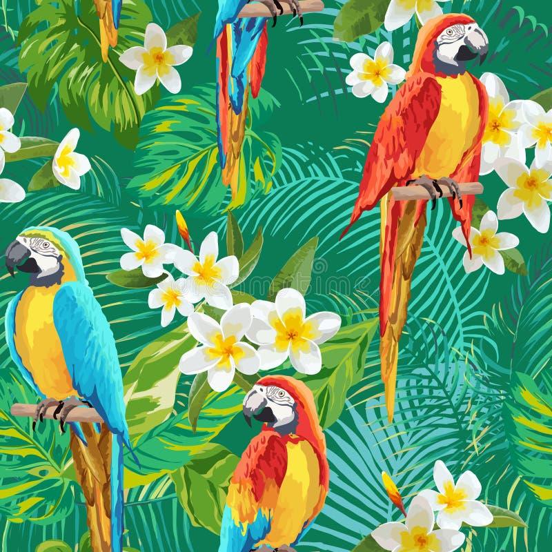 Fondo tropicale degli uccelli e dei fiori - modello senza cuciture d'annata illustrazione vettoriale