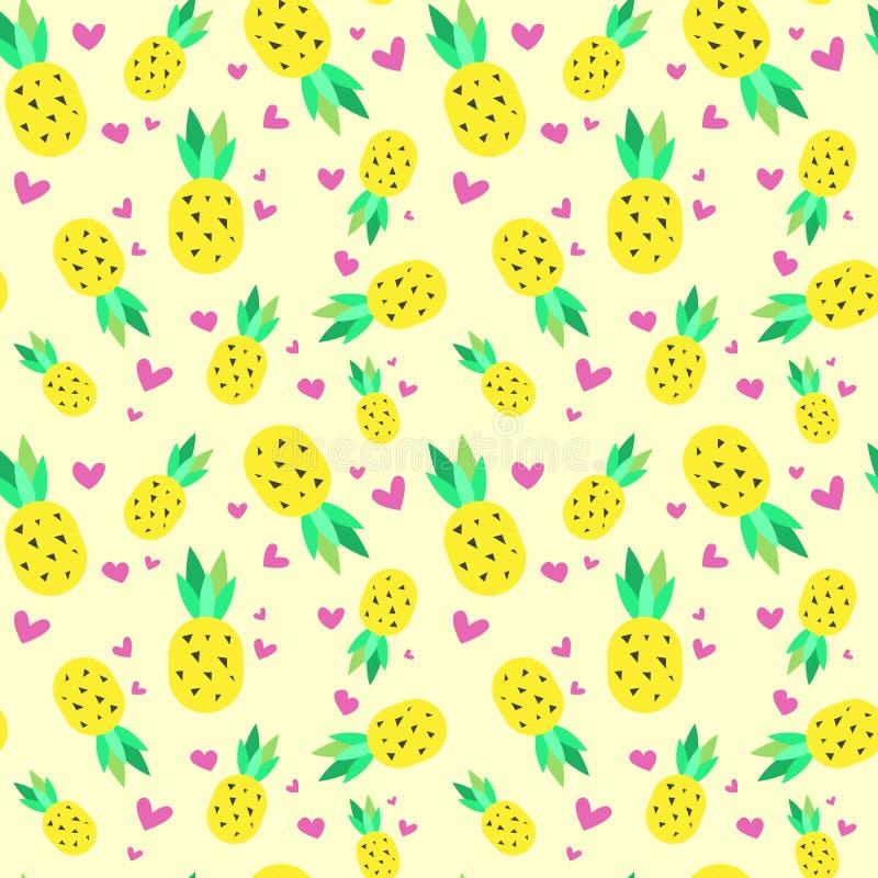 Fondo tropicale dell'ornamento di estate dell'ananas senza cuciture del modello illustrazione vettoriale