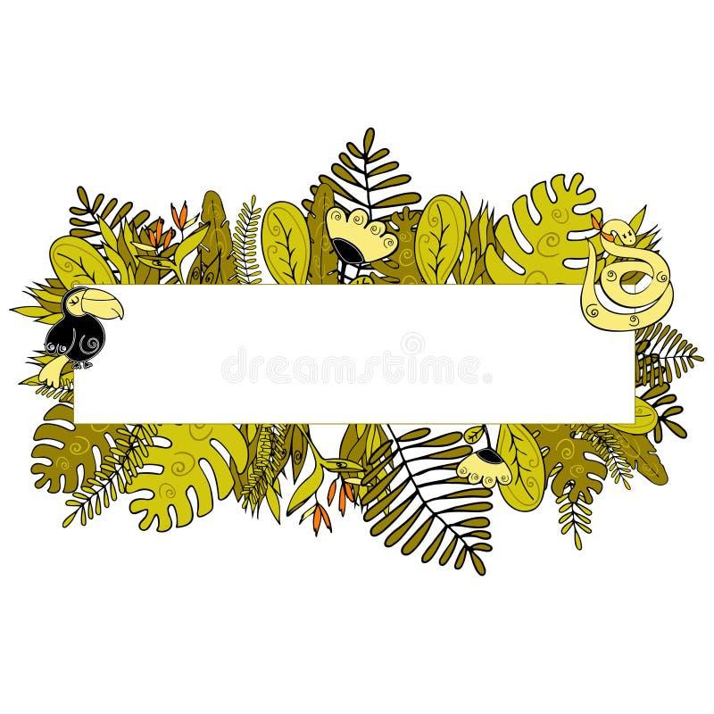 Fondo tropicale della foglia di estate con le foglie di palma esotiche, floreali illustrazione di stock