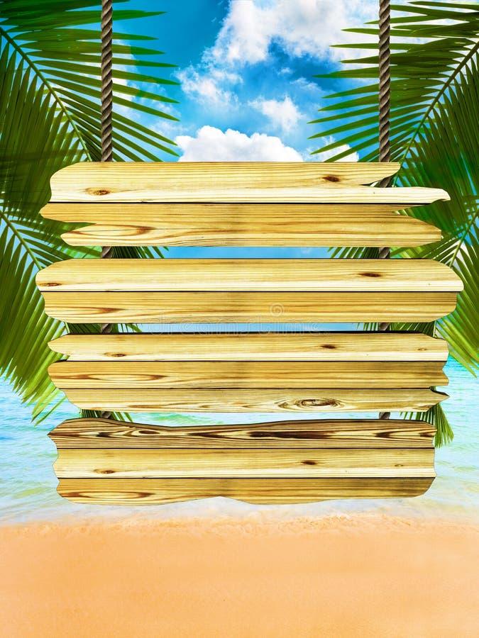 Fondo tropicale della spiaggia con il segno di legno esotico del bordo illustrazione di stock