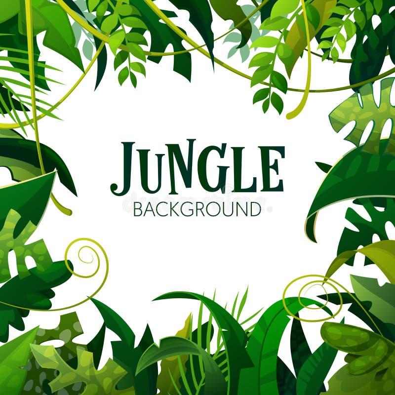 Fondo tropicale delle foglie della giungla Manifesto delle palme royalty illustrazione gratis