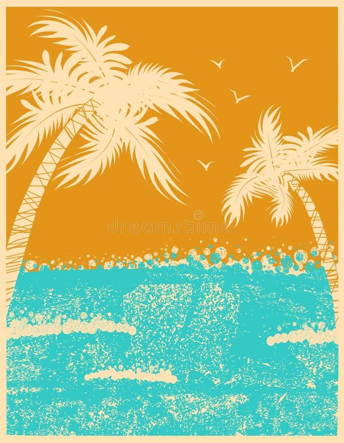 Fondo tropicale delle palme con le onde di oceano royalty illustrazione gratis