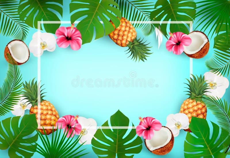 Fondo tropicale di estate con le foglie di palma esotiche illustrazione vettoriale