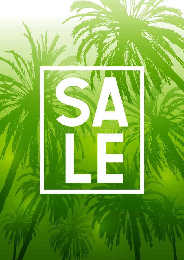 Fondo tropicale di estate con le siluette delle palme su verde illustrazione vettoriale