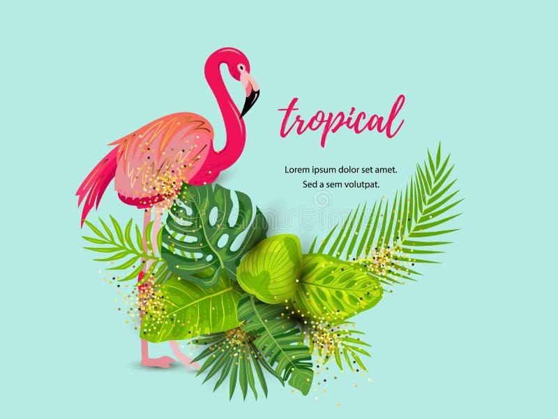 Fondo tropicale di estate verde con il fenicottero rosa e le foglie esotiche illustrazione vettoriale