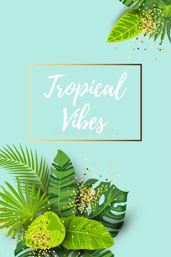 Fondo tropicale di estate verde con le foglie esotiche e la struttura dorata illustrazione di stock