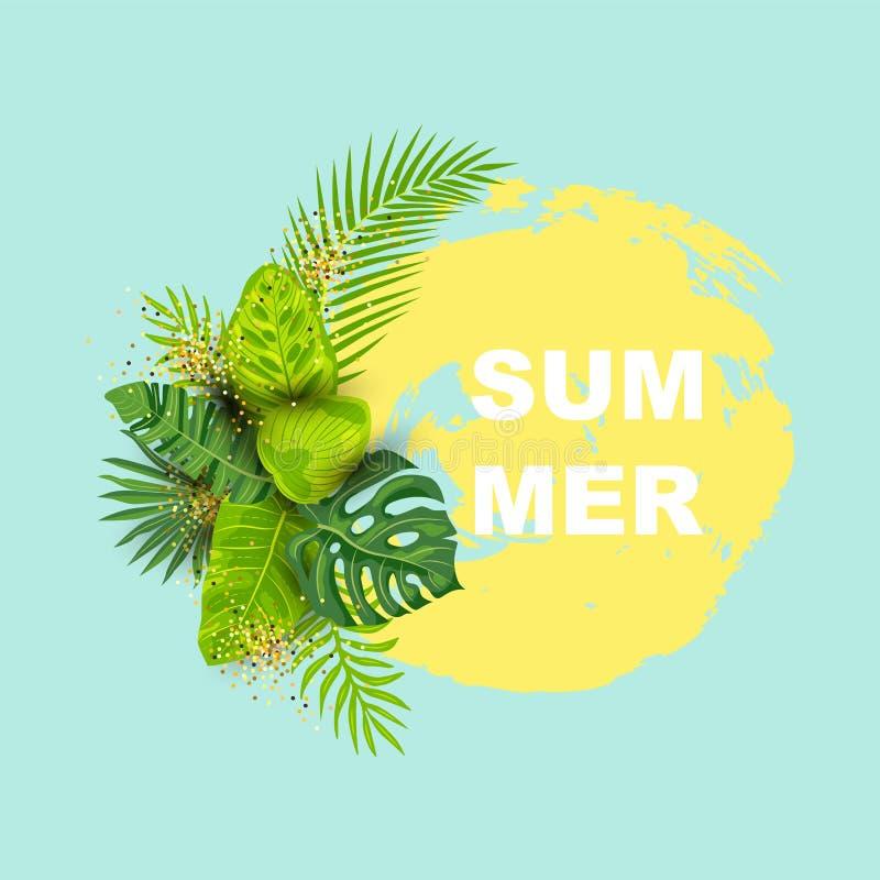 Fondo tropicale di estate verde con le foglie esotiche royalty illustrazione gratis