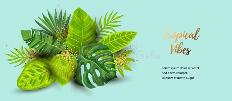 Fondo tropicale di estate verde con le foglie esotiche illustrazione di stock
