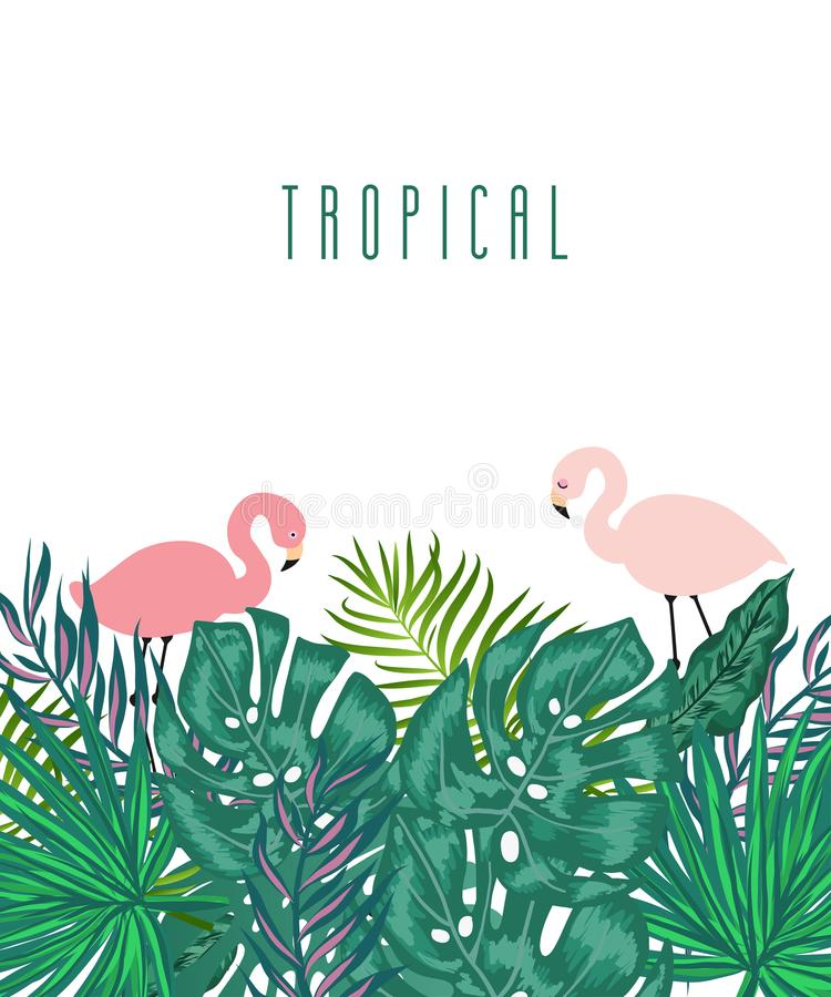 Fondo tropicale di estate verde con le foglie di palma esotiche illustrazione di stock