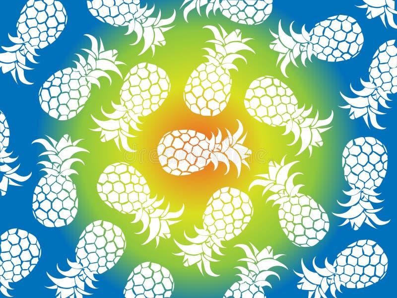 Fondo tropicale di vettore degli ananas bianchi con il fondo di colori gialli, blu, verdi come vettore per i modelli della spiagg royalty illustrazione gratis