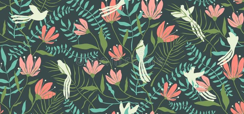 Fondo tropicale senza cuciture delle foglie e degli uccelli immagine stock
