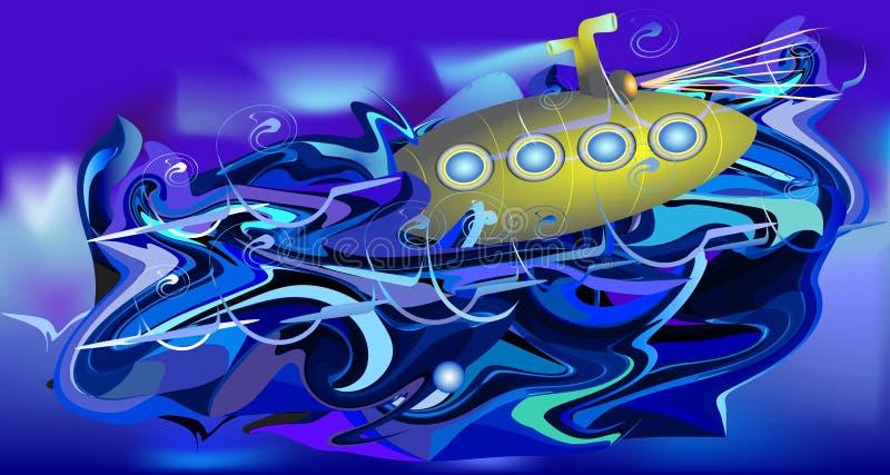 Fondo turbolento dell'acqua con il sottomarino royalty illustrazione gratis