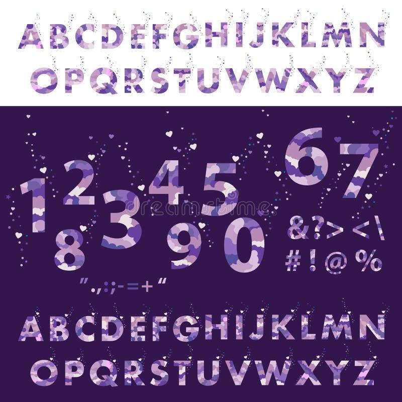 Fondo ultravioleta Letras escritas mano del alfabeto Sistema del vector de letras stock de ilustración
