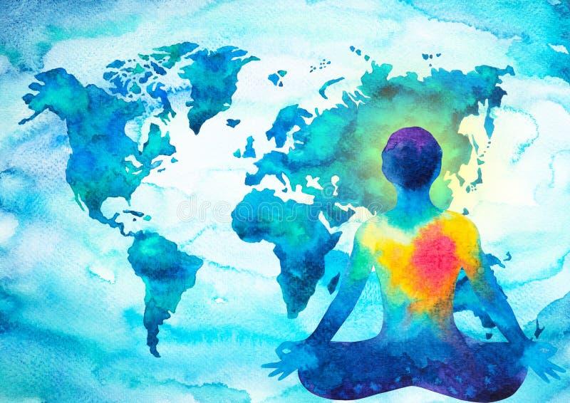 Fondo umano astratto della mappa di mondo di potere dell'universo di chakra del meditator illustrazione di stock