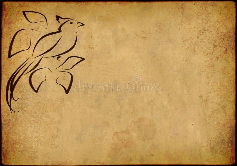 Fondo - una hoja del papel viejo, manchado ilustración del vector