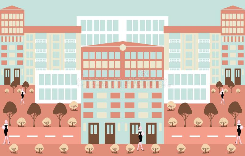 Fondo urbano abstracto del ejemplo del scenics del minimalismo stock de ilustración