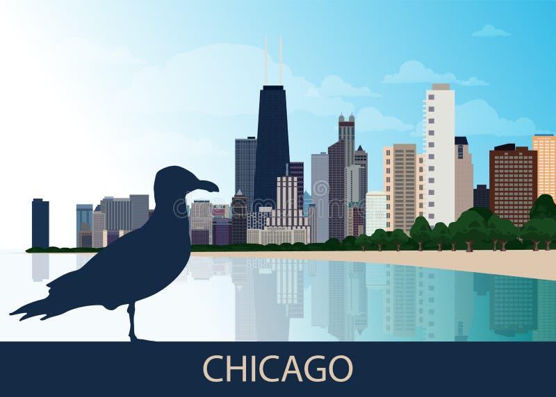 Fondo urbano de la ciudad de los E.E.U.U. Chicago con la silueta de la gaviota del pájaro que se sienta, de rascacielos, del lago ilustración del vector