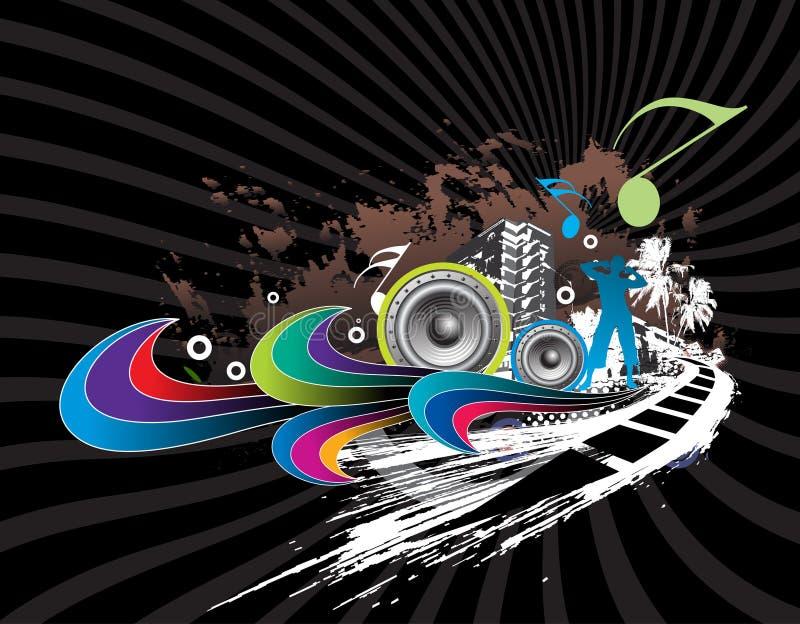 Fondo urbano de la música de los horizontes stock de ilustración