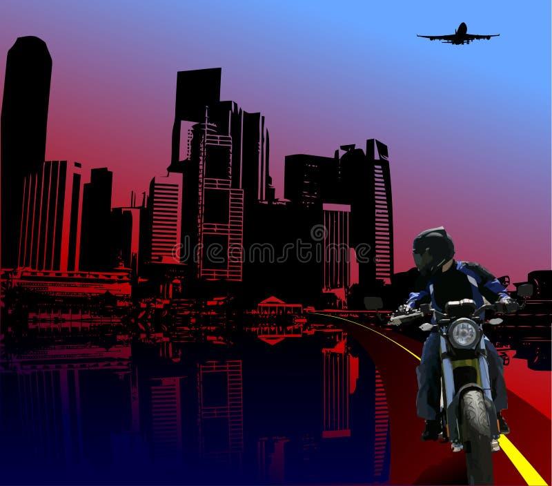 Fondo urbano de la noche con imagen del motorista ilustración del vector