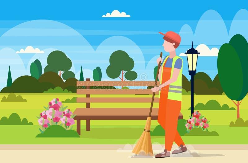 Fondo urbano del paisaje del parque de calle del limpiador de la tenencia de la escoba del hombre de la basura de la limpieza del stock de ilustración