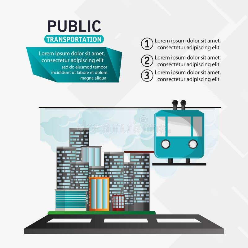 Fondo urbano funicular del transporte público del teleférico stock de ilustración