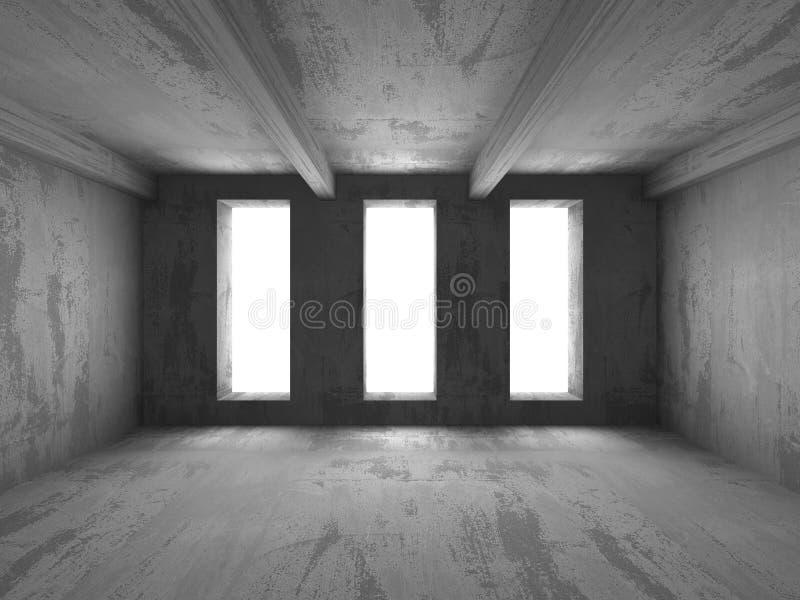 Fondo vacío abstracto del interior del sitio del muro de cemento stock de ilustración