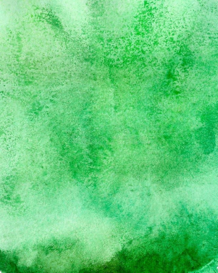 Fondo vacío pintado acrílico abstracto Textura verde de la acuarela Plantilla del Grunge para su diseño imagenes de archivo