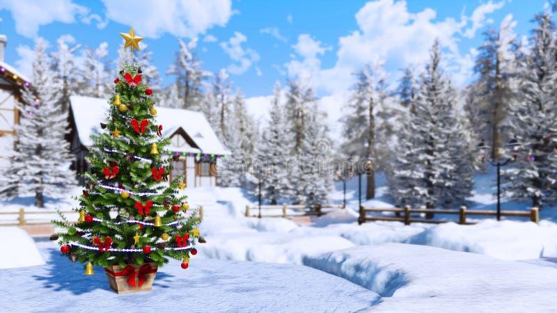 Fondo vago all'aperto di inverno dell'albero di Natale royalty illustrazione gratis