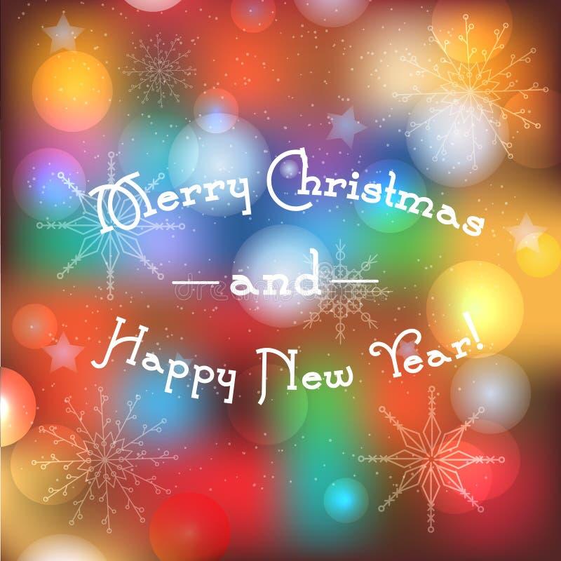 Fondo vago di vacanze invernali con il testo del buon anno e di Buon Natale Insegna di saluto con le luci magiche e tradizionale illustrazione di stock