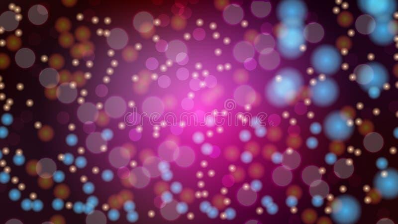 Fondo vago porpora dell'estratto con effetto del bokeh Bello ardore multicolore festivo luminoso magico brillante con i punti lum illustrazione vettoriale