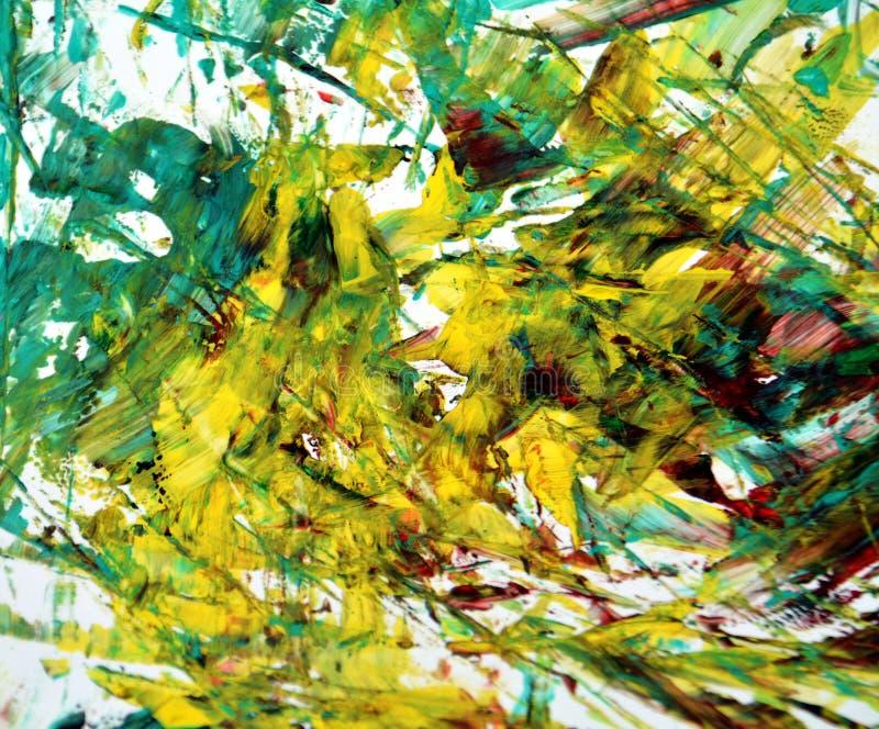 Fondo vago verde bianco dell'acquerello della pittura dell'oro, fondo di verniciatura astratto dell'acquerello immagini stock libere da diritti