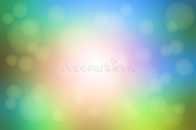 Fondo vago verde blu rosa con le luci del bokeh illustrazione di stock
