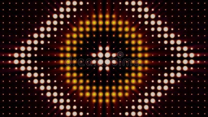 Fondo variopinto astratto con i riflettori brillanti nelle forme di cerchio e di rombo, illuminazione di concerto animazione illustrazione di stock