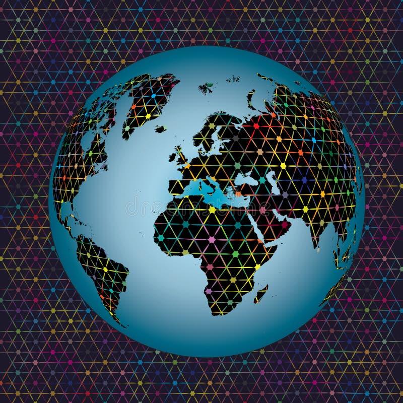 Fondo variopinto astratto di connettività di rete della mappa di mondo del globo della terra delle stelle illustrazione vettoriale