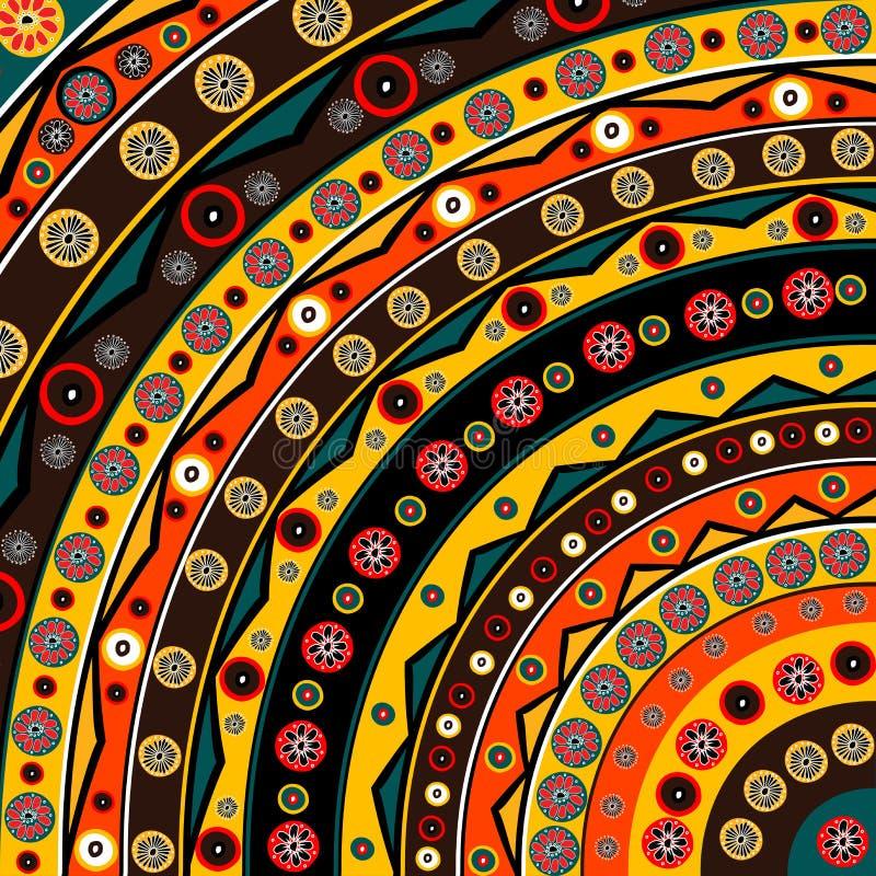 Fondo variopinto con i motivi etnici africani ed i fiori illustrazione di stock