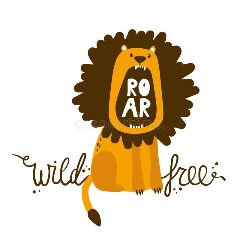 Fondo variopinto con il testo inglese del leone Selvaggio e libero Contesto sveglio decorativo con l'animale illustrazione di stock