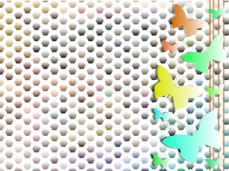 Fondo variopinto con le farfalle e i exagons illustrazione di stock