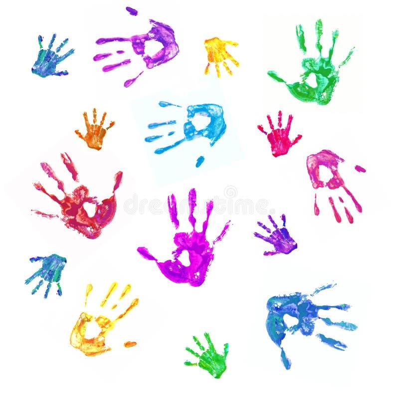 Fondo variopinto dalle stampe delle mani dipinte della famiglia illustrazione di stock