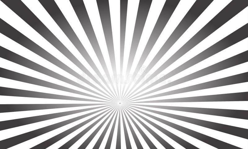 Fondo variopinto dei raggi di Pop art di vettore Raggi bianchi su un fondo nero illustrazione vettoriale