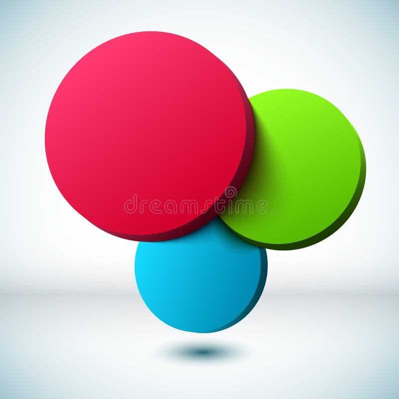 Fondo variopinto del cerchio 3D. illustrazione vettoriale