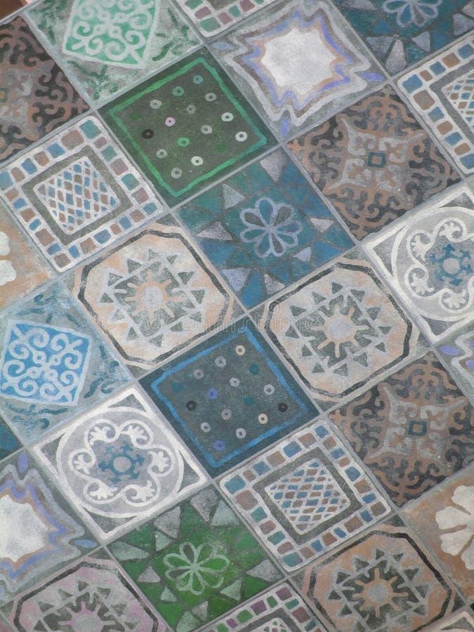 Fondo variopinto del mosaico delle mattonelle Arte orientale Mosaico persiano Blu e verde fotografie stock
