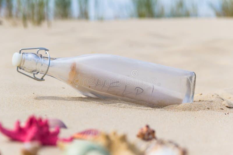 Fondo variopinto della bottiglia delle conchiglie fotografia stock
