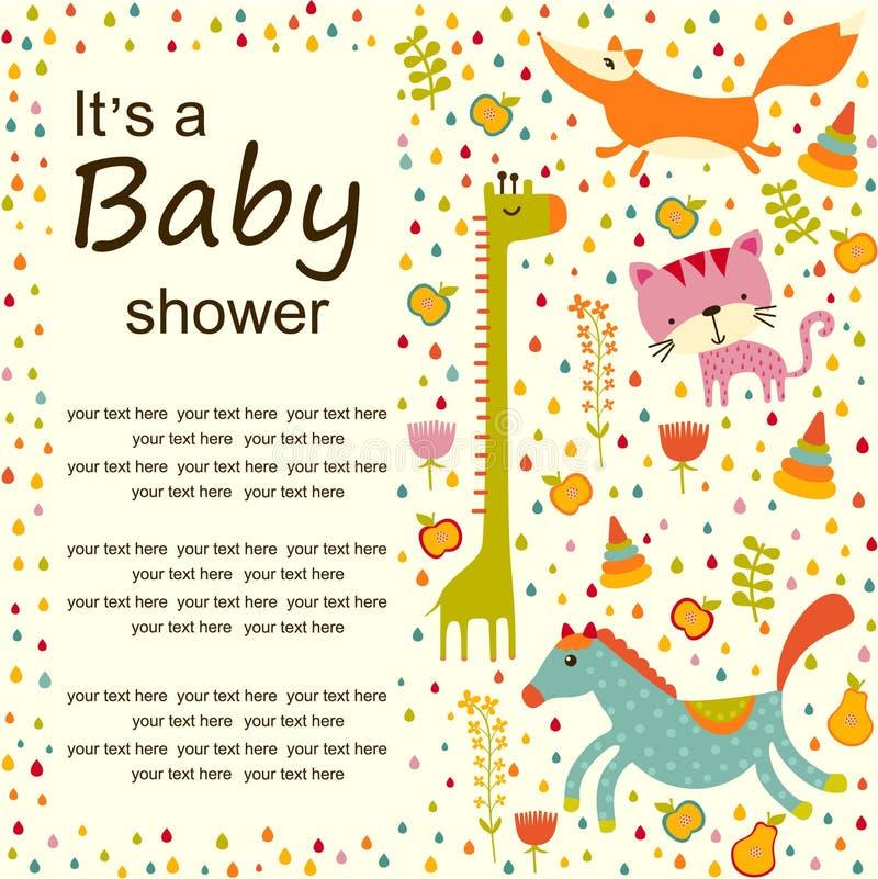 Fondo variopinto della doccia di bambino Cartolina d'auguri o invito di buon compleanno illustrazione vettoriale