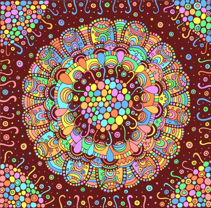 Fondo variopinto della mandala del fiore Contesto tribale psichedelico di scarabocchio Illustrazione di vettore illustrazione di stock