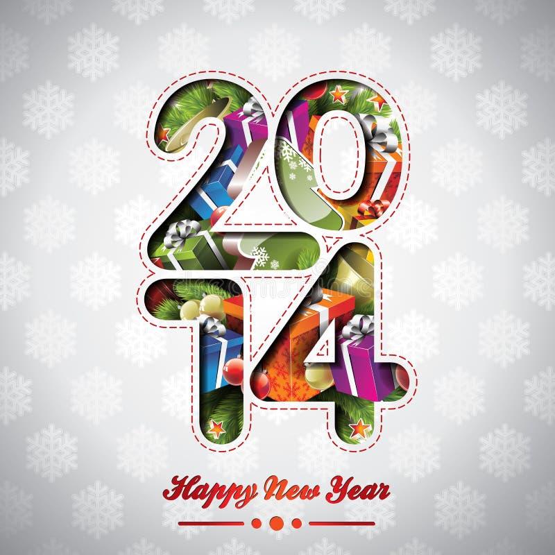 Fondo variopinto di celebrazione del buon anno 2014 di vettore illustrazione vettoriale