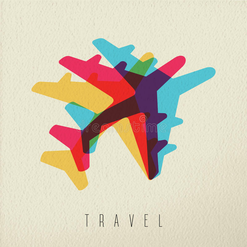 Fondo variopinto di concetto di viaggio dell'aeroplano royalty illustrazione gratis