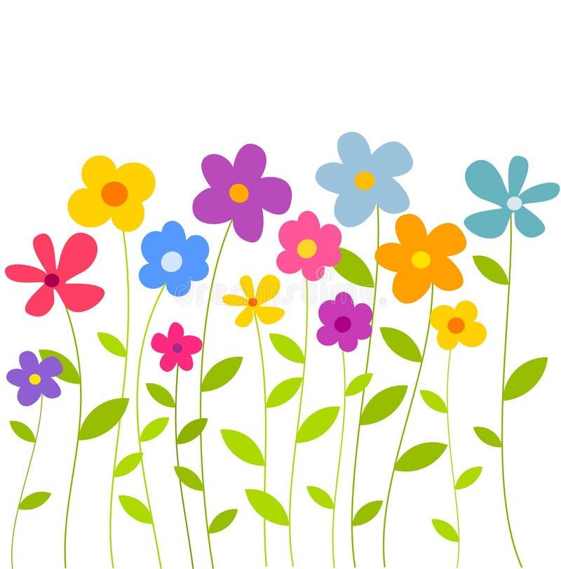 Fondo variopinto di crescita di fiori, illustrazione vettoriale