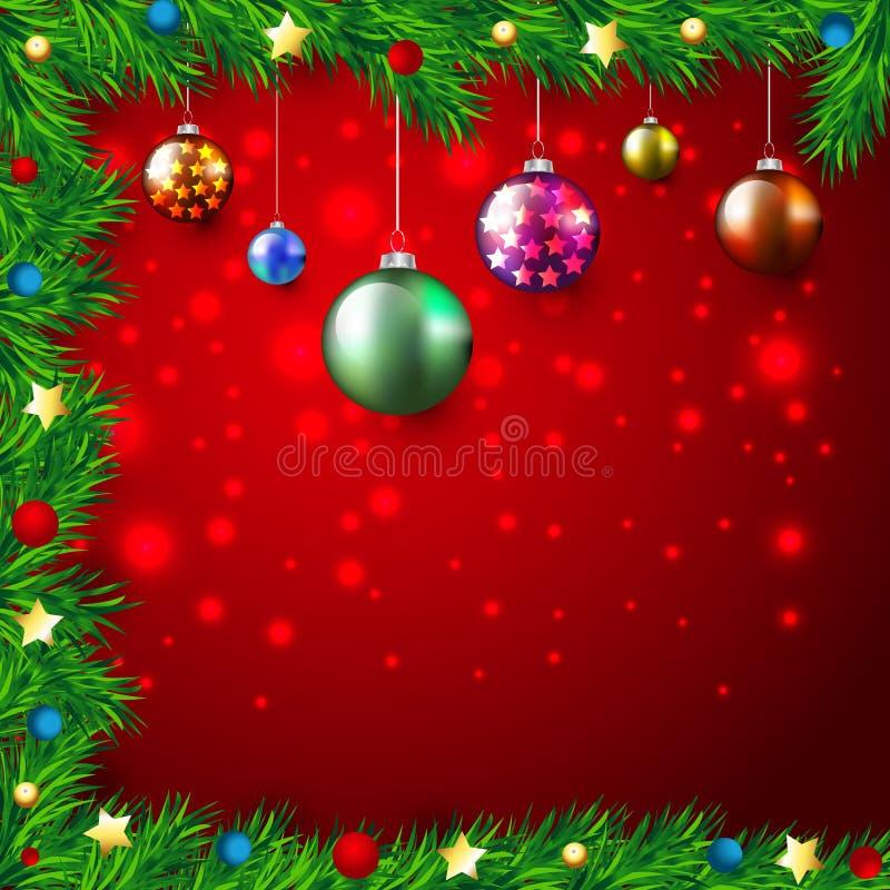 Fondo variopinto di Natale con le luci e le bagattelle, stelle, braches dell'abete illustrazione vettoriale